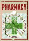 Τυπογραφική αναδρομική αφίσα φαρμακείων grunge επίσης corel σύρετε το διάνυσμα απεικόνισης Στοκ Εικόνες