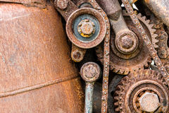 Grunge corroded metal components of industrial machine Royalty Free Stock Photos