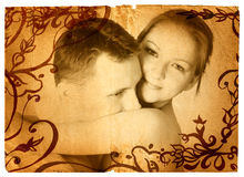 Grunge couple. Grunge young naked couple on rich texture and swirl border. Clipping path for the page edge is incl Stock Image