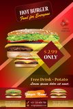 Grunge Cover for Fast Food with realistic burger vector illustration