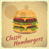 Grunge Cover for Hamburgers Menu Royalty Free Stock Photo