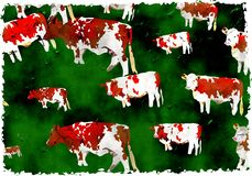 Grunge cows. Artistic dirt stained grunge textured parchment background design with grazing cattle Royalty Free Stock Photo