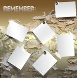 Grunge cracked background with note cards. Background with peeling wall and blank notepads Royalty Free Stock Photo