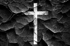 Grunge cracked Christian cross icon Stock Photos