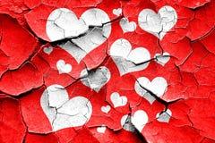 Grunge cracked Hearts love background Royalty Free Stock Image