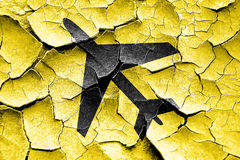 Grunge cracked Low flying planes sign Stock Image