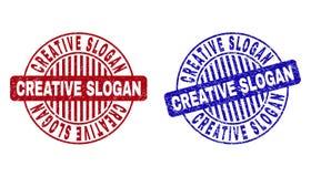 Grunge CREATIVE SLOGAN Scratched Round Watermarks. Grunge CREATIVE SLOGAN round stamp seals isolated on a white background. Round seals with grunge texture in vector illustration