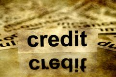 Grunge credit concept. Close up of Grunge credit concept Royalty Free Stock Photo