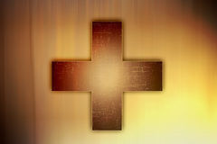 Grunge cross. With a light background royalty free illustration
