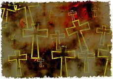 Grunge cross. Artistic grunge textured parched cross background design with ragged edges - made to look old and worn stock illustration