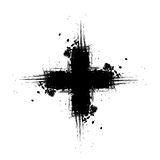 Grunge cross. Design element or background with scratches and splatter vector illustration