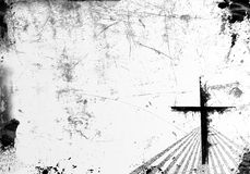 Grunge Cross Background. Black and white background in grunge style. Great image for youth church programs.  Lots of space for text Stock Image