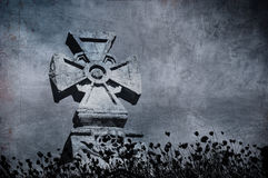 Grunge cross in the cemetery, halloween background Royalty Free Stock Photography