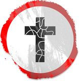 Grunge cross sign Stock Photography