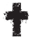 Grunge cross. Vector cross drops, splashes and stains stock illustration