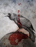 Grunge crow. A hand drawn crow on a round surface with a blood splat down the middle of the image.  Concept for omen or warning Royalty Free Stock Photography