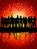 Grunge crowd. Silhouette of a crowd on a grunge starry background Stock Image