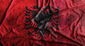 Grunge crumpled Albania flag. 3d rendering Stock Image