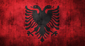 Grunge crumpled Albania flag. 3d rendering Stock Photos