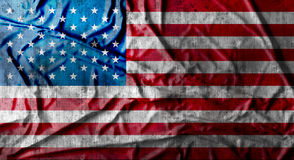 Grunge crumpled american flag. 3d rendering. Grunge crumpled american flag background with dirt. 3d rendering Royalty Free Stock Photography
