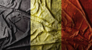 Grunge crumpled Belgium flag. 3d rendering Stock Photos
