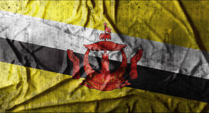 Grunge crumpled Brunei flag. 3d rendering Stock Photography