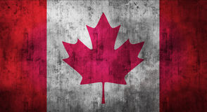 Grunge crumpled Canadian flag. 3d rendering Stock Photos
