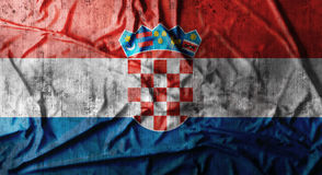 Grunge crumpled Croatia flag. 3d rendering Stock Photos
