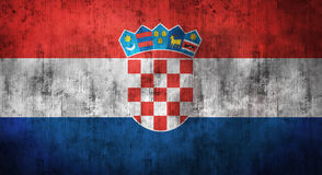 Grunge crumpled Croatia flag. 3d rendering Stock Images