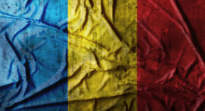 Grunge crumpled Romania flag. 3d rendering Stock Photography
