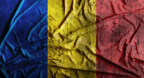 Grunge crumpled Romania flag. 3d rendering Stock Images
