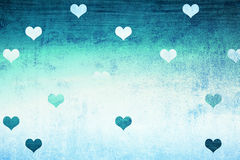 Grunge cyan blue textured hearts background Royalty Free Stock Photos