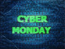 Grunge Cyber Monday Sale. Grunge sale technology background for cyber monday with computer code Stock Photo