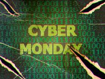 Grunge Cyber Monday Sale. Grunge sale technology background for cyber monday with computer code Stock Photos