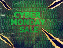 Grunge Cyber Monday Sale. Grunge sale technology background for cyber monday with computer code Royalty Free Stock Image