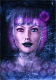 Cyberpunk Fantasy Woman Portrait. Fantasy Grunge Portrait of a futuristic Cyberpunk woman Stock Photo