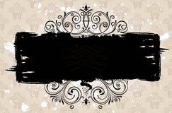 Grunge czarny sztandaru tło. Rocznik deseniujący Obrazy Stock