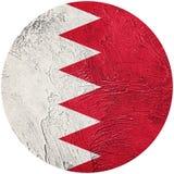 grunge d'indicateur du Bahrain Drapeau de bouton du Bahrain d'isolement sur le backg blanc Image stock