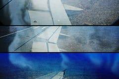 grunge da colagem do fumo do avião na aterrissagem do fogo Fotografia de Stock