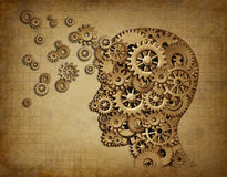 Grunge da função do cérebro humano com engrenagens Foto de Stock Royalty Free