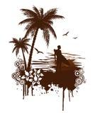 Grunge da ressaca com surfista ilustração royalty free