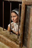Grunge dama w koronce i okno Zdjęcie Stock