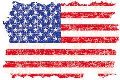 Grunge damaged American flag. On white background Stock Image