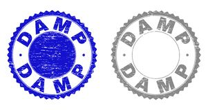 Grunge DAMP Scratched Stamps. Grunge DAMP stamp seals isolated on a white background. Rosette seals with grunge texture in blue and grey colors. Vector rubber royalty free illustration