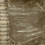 Grunge dark background with paper music border Royalty Free Stock Photography
