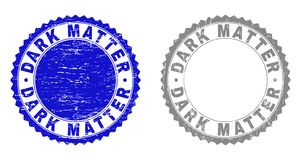 Grunge DARK MATTER Scratched Stamps. Grunge DARK MATTER stamp seals isolated on a white background. Rosette seals with grunge texture in blue and gray colors royalty free illustration
