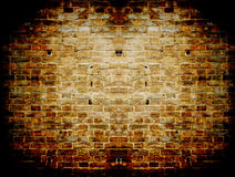 Grunge dark red concrete wall in a brick frame con