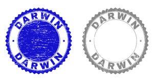 Grunge DARWIN Scratched Stamps stock illustrationer