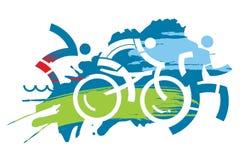 Grunge de course de triathlon stylisé Images libres de droits