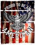 Grunge de la bandera americana y del águila stock de ilustración